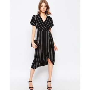 ASOS- Stripe wrap dress with cape detail